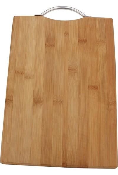 İkra Home Bambu Kesme Tahtası Metal Saplı Et Steak Sunum Servis Tutacaklı 24X34 cm