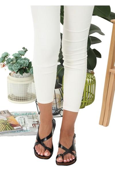 Chelsea Siyah Deri Sandalet