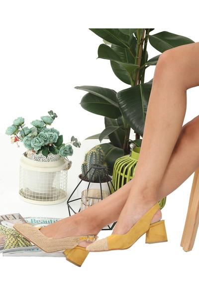 London&London Cheyenne Hasır-Hardal Topuklu Ayakkabı