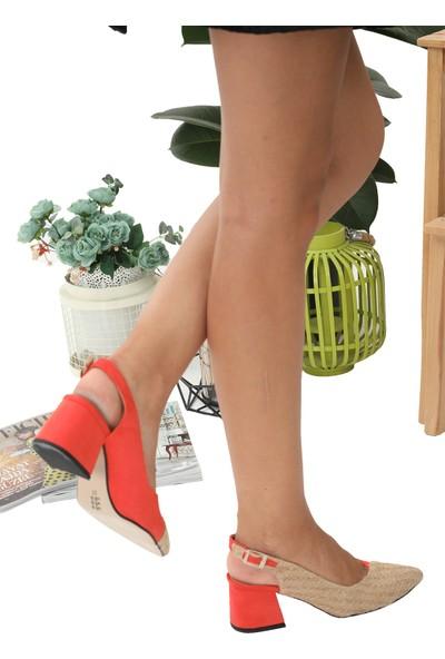 London&London Cheyenne Hasır- Turuncu Topuklu Ayakkabı