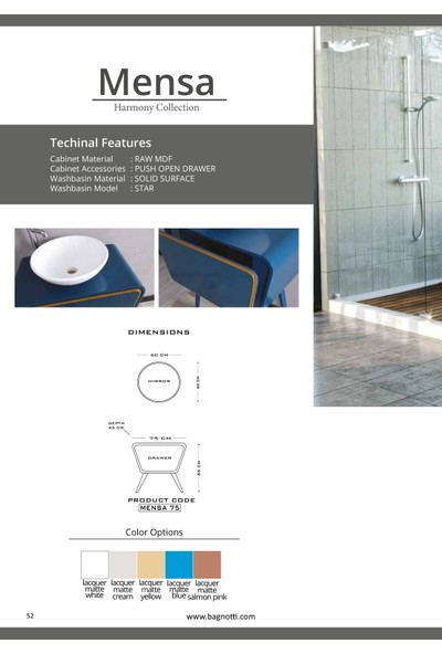 Bagnotti Mensa 75 cm Sofistike Tasarım Full Lake Mavi Banyo Dolabı