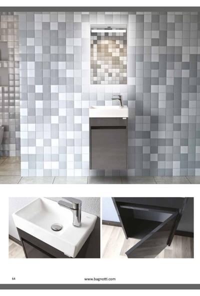Bagnotti Wezen 45 cm Glossmax Parlak Antrasit Led Aynalı Banyo Dolabı