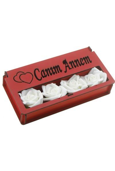 Mutlu Adım Kırmızı Ahşap Kutuda Çiçekli Canım Annem Çikolata 12'li