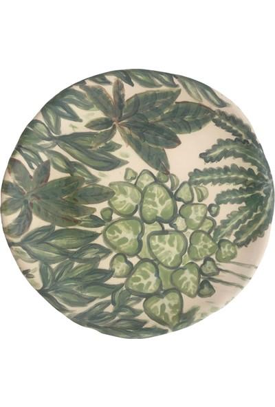Alla Ceramics Alp Bitkileri Büyük Düz Servis Tabağı
