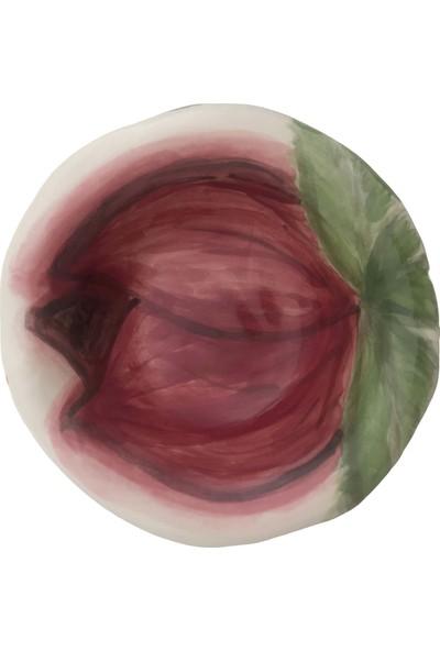Alla Ceramics Bordo Haşin Gül Küçük Çukur Tabak