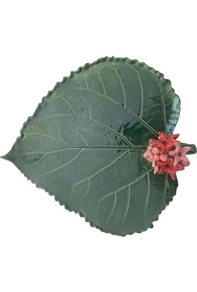 Alla Ceramics Ortanca Yaprağı Koyu Yeşil Mumluk ve Tütsülük