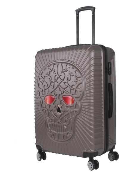 Skull Design Büyük Boy Valiz Polikarbon Kahve 125
