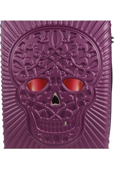 Skull Design Büyük Boy Valiz Polikarbon Fuşya 125