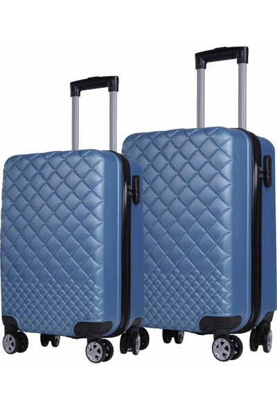 Orta ve Kabin Boy Polikarbon İkili Valiz Set Mavi 1468