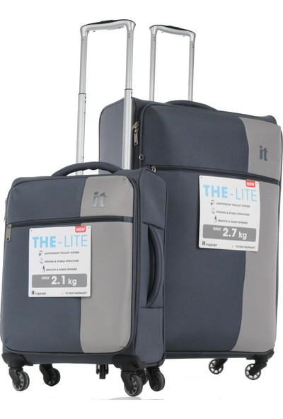 İT Luggage Ultra Light Kumaş Valiz Büyük ve Kabin Boy Seti Gri 2152