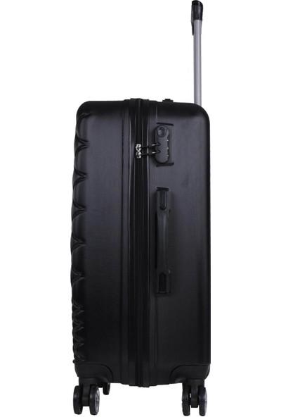 Büyük ve Kabin Boy Polikarbon İkili Valiz Set Siyah 1468