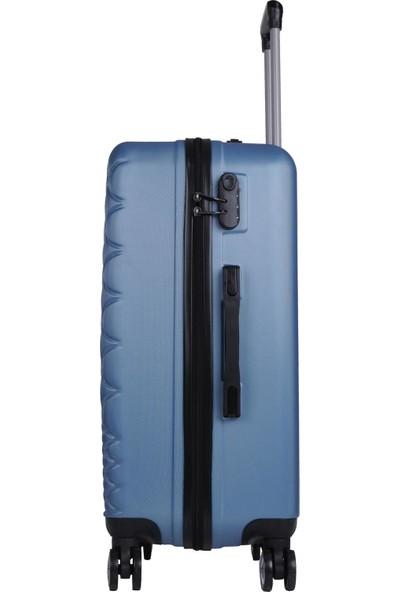 Büyük ve Kabin Boy Polikarbon İkili Valiz Set Mavi 1468