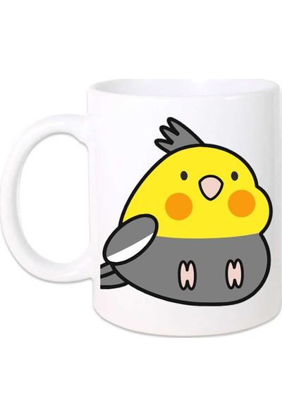 Kuş Arkadaşım Sultan Papağanı Kupa Arkası Desensiz Sarı - Koyu Gri