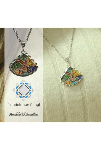 Antik Mozaik Anadolu'nun Rengi Kolye - Firuze Lapis Mercan ve Kuvars Taşlardan El Yapımı Kolye