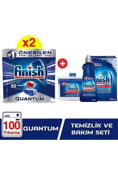 Finish Quantum 100 Tablet Bulaşık Makinesi Deterjanı + Finish Temizlik ve Bakım Seti