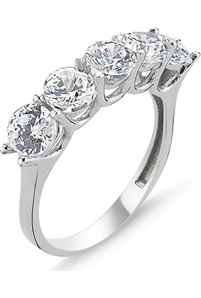 Luxilver Zirkon Beştaş Gümüş Yüzük
