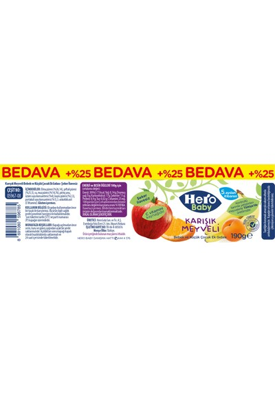 Hero Baby Karışık Meyve Püreli Kavanoz Mama 190 Gr