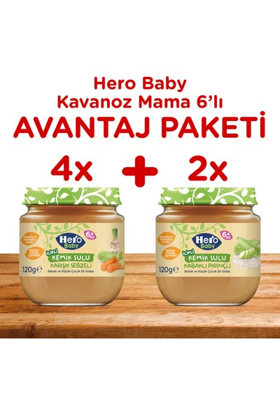 Hero Baby İlikli Kemik Sulu Karışık Sebzeli ve İlikli Kemik Sulu Kabaklı Pirinçli Kavanoz Mama 6'lı Karma Paket