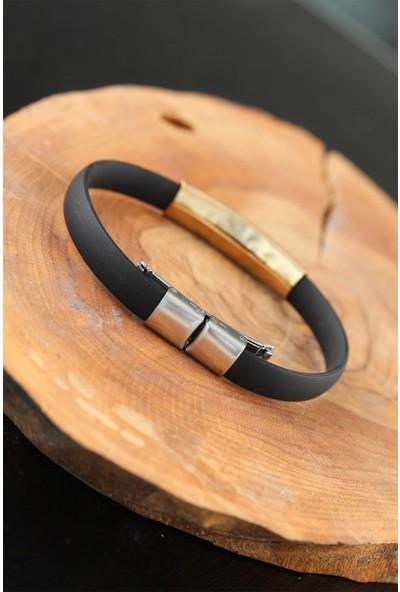 Jewella Gold Metal Timsah Tasarım Siyah Silikon Erkek Bileklik