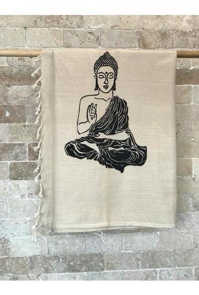 Buldan Evi Buda Taş Baskı Pamuklu Peştamal Siyah