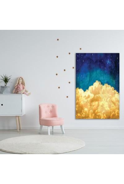 Henge Mavi Gökyüzü Beyaz Bulut Deseni Duvar Örtüsü