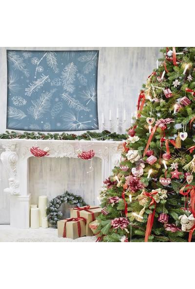 Henge Mavi Noel Kar Taneleri Çam Kozalakları ve Dalları Duvar Örtüsü