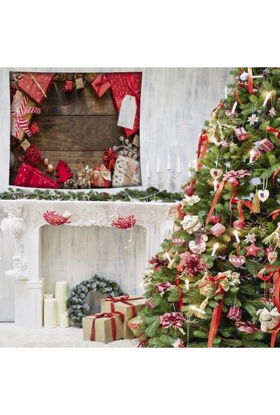 Henge Kırmızı Çam Kozalak Hediye Paketleri Noel Yılbaşı Duvar Örtüsü