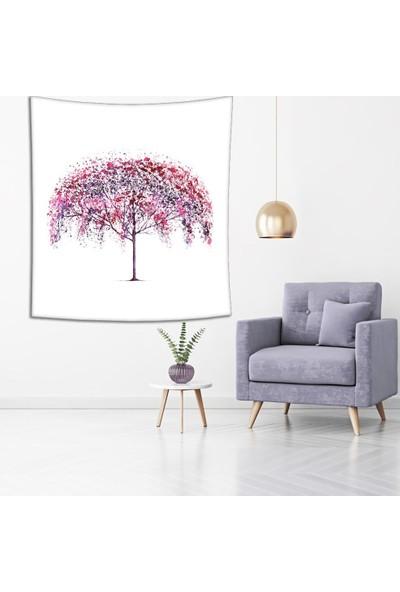 Henge Kiraz Ağaç Sulu Boya Desenli Çok Renkli Duvar Örtüsü