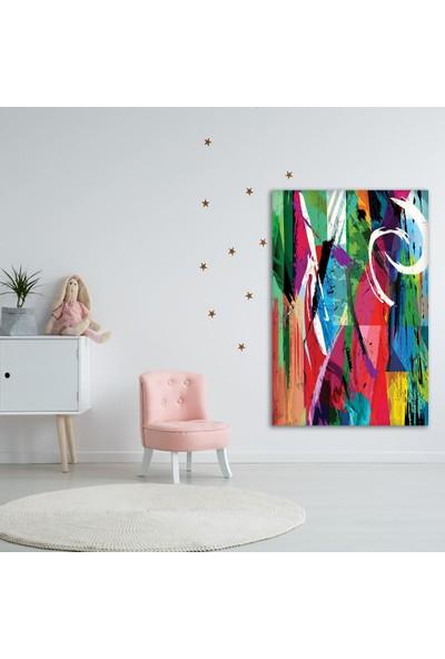 Henge Yağlı Boya Etkili Renkli Sürralist Desenli Duvar Örtüsü