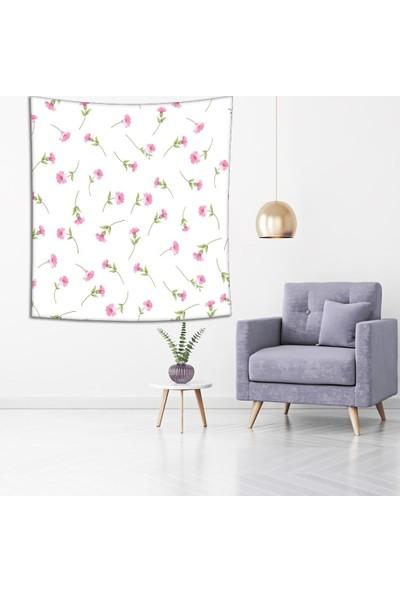 Henge Pembe Bahar Zarif Çiçek Desenli Duvar Örtüsü