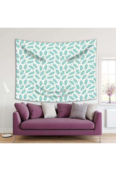 Henge Turkuaz Palmiye Yaprakları Baskılı Duvar Örtüsü