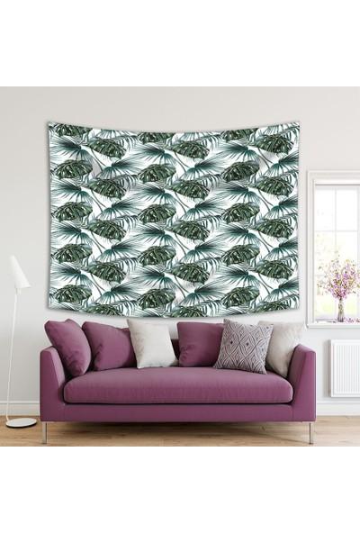 Henge Yeşil Tropikal Yaprak Desenli Beyaz Duvar Örtüsü