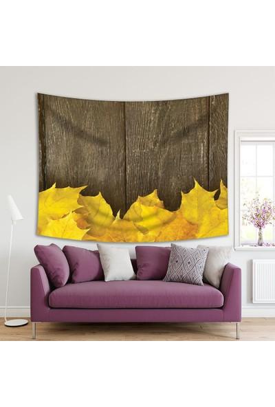Henge Ahşap Masa Sonbahar Yaprak Desenli Sarı Duvar Örtüsü