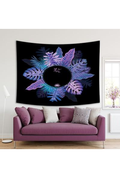 Henge Yuvarlak Mor Ve Tonları Etkili Palmiye Yaprak Desenli Duvar Örtüsü