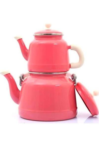 Verda Tiryaki Pembe-Vintage Emaye Çinko Çaydanlık Takımı