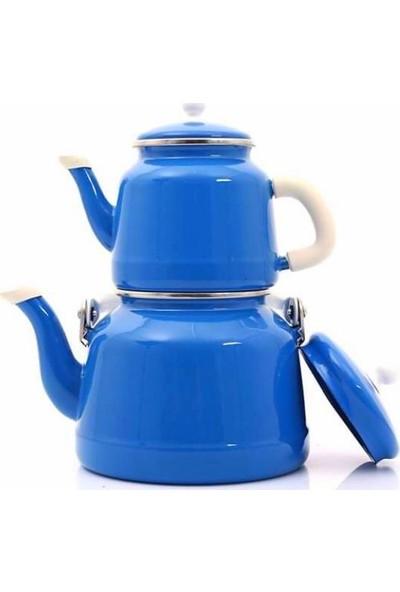 Verda Tiryaki Vintage Emaye Çinko Çaydanlık Takımı