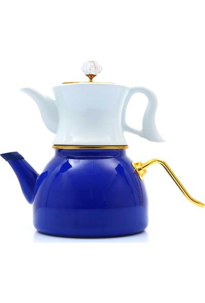 Dufy Vintage Mavi-Beyaz Alt Emaye Üst Porselen Çaydanlık