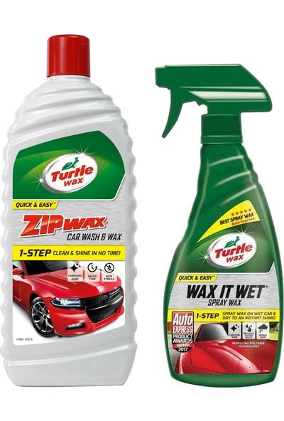 Turtle Wax Hızlı Sprey Cila 500 ml + Zip Wax Cilalı Oto Yıkama Şampuanı 60 Yıkama 1 lt
