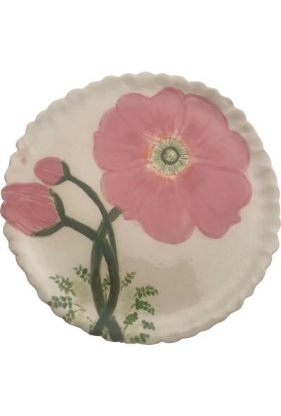 Alla Ceramics Pembe Haşin Gül Büyük Düz Servis Tabağı
