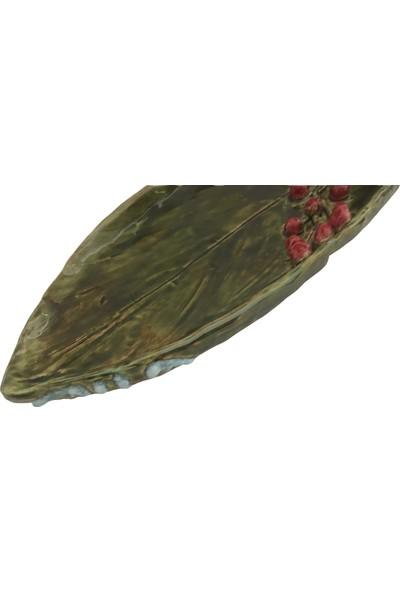 Alla Ceramics Kuşlu Yaprak Servis Tabağı
