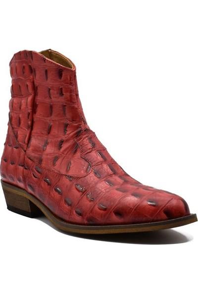 Fertini Deri Özel Dizayn Kırmızı Baby Krokodil Yazlık Kovboy Bot