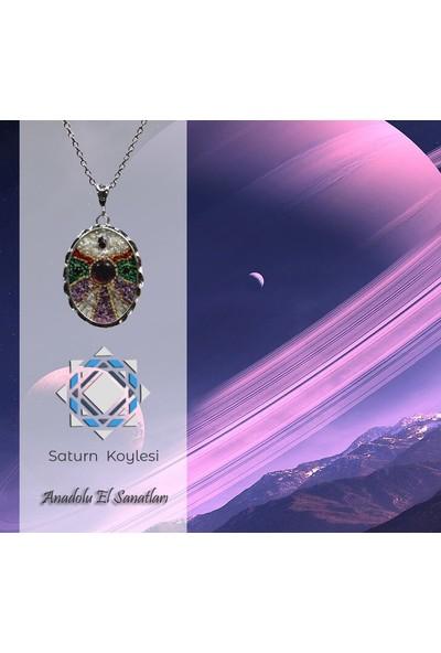 Antik Mozaik Satürn Kolye - Ametis Garnet Sedef Mercan Taşlardan El Yapımı Kolye