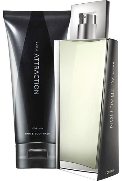 Avon Attraction Erkek Parfüm ve Saç Vücut Şampuanı Hediye Paketi