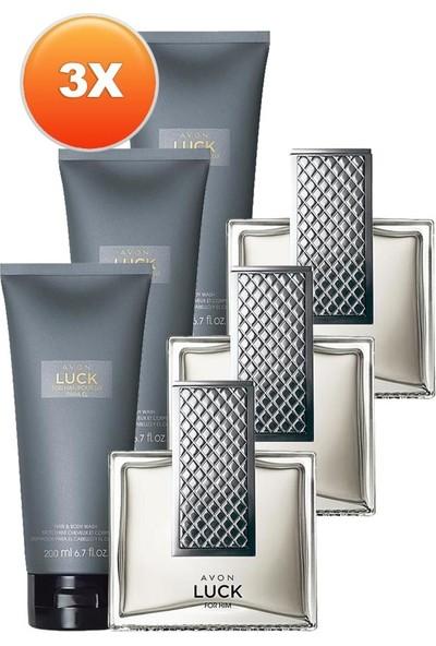 Avon Luck Erkek Parfüm ve Saç Vücut Şampuanı Hediye Paketi Üçlü Set