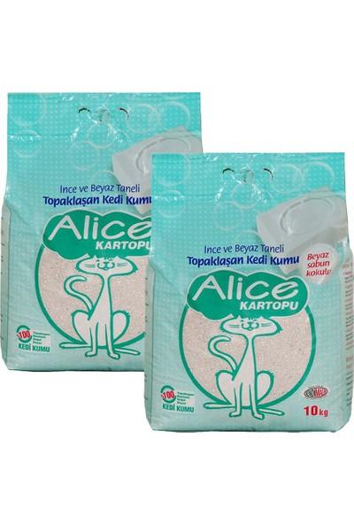 Alice Kartopu Ince Taneli Kedi Kumu/beyaz Sabun Kokulu 10 kg 2'li
