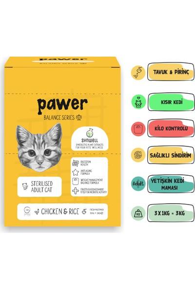 Pawer Balance Sterilised Tavuklu ve Pirinçli Kısırlaştırılmış Yetişkin Kedi Maması 6 Kg (2 Adet 3 Kg)