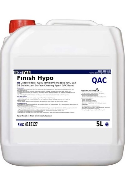 AktastrGroup Fınısh Hypo QAC Konsantre Yüzey Dez. Temizleme Hijyen Maddesi QAC Bazlı