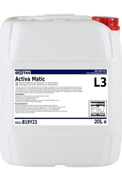 AktastrGroup Activa Matic Lima L3 Endüstriyel Bulaşık Makinası Deterjanı 20 LT