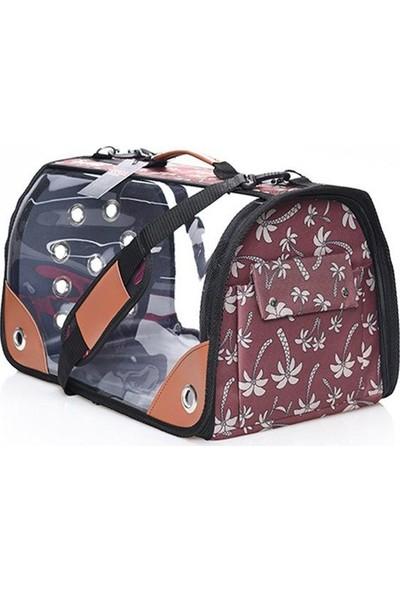 Lepus Şeffaf Flybag Kedi Köpek Çantası 28 x 45 x 28H cm Palmiye Kahverengi Large