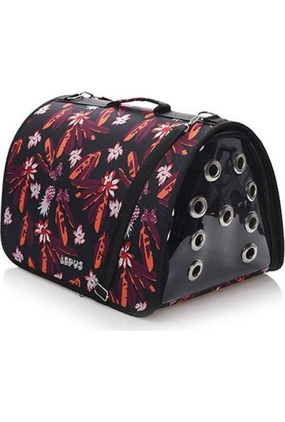 Lepus Fly Bag Siyah Çiçekli Kedi Köpek Taşıma Çantası 25 x 40 x 25H cm